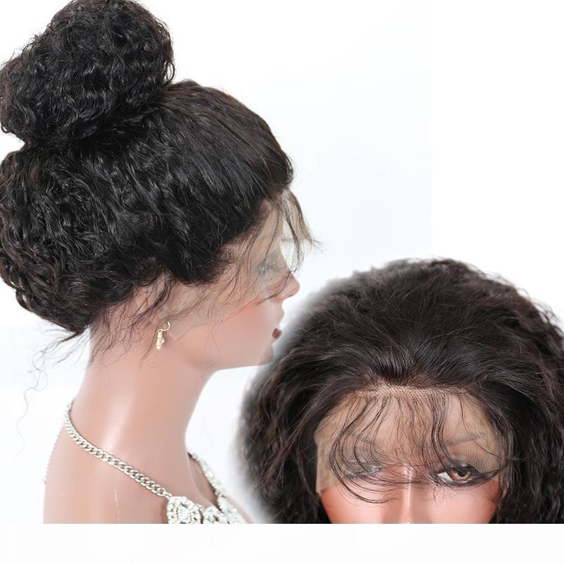 180% Brezilyalı Kinky Kıvırcık Peruk Brezilyalı Bakire Tam Dantel İnsan Saç Peruk Tutkalsız Kinky Kıvırcık Dantel Ön Peruk Siyah Kadınlar Için