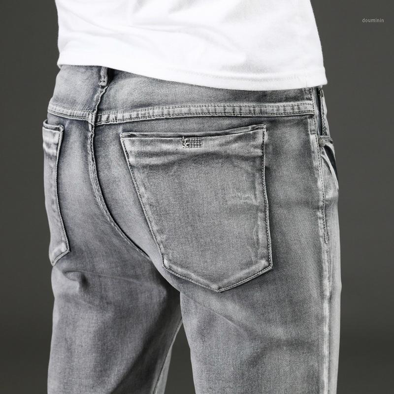 Мужские джинсы 2021 мужские джинсовые прямые брюки полной длины с высокой эластичности Тонкий для человека мода середина талии джинсы1