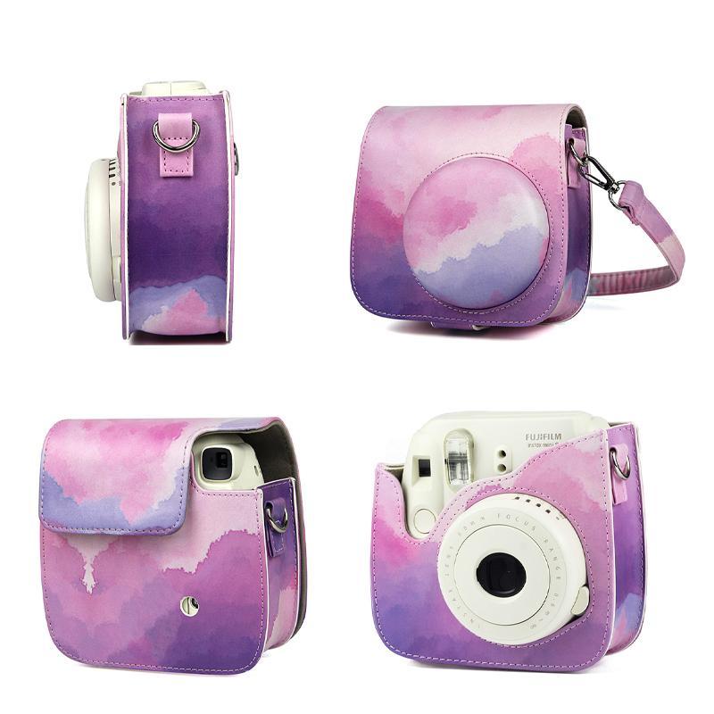 Coloré Coque Côte Coque Coquille Coquille de protection pour Fujifilm Instaxe Mini 11/9/8 avec bandoulière