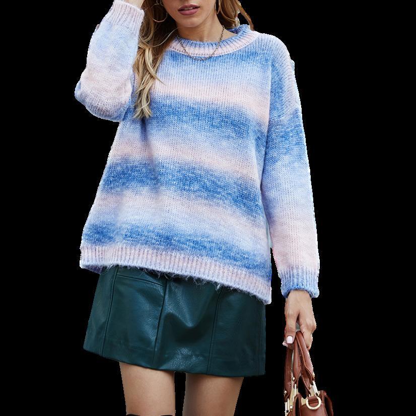 2020 New Tie Dye Maglione Donne Maglione Autunno Gradiente Maglia Tops Streetwear Pullover Gilet Elegante stile coreano jumper per signore