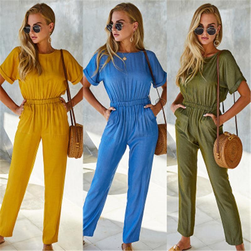 Женщины сплошные цветные розыгрыши моды Occident Trend с коротким рукавом нарисуйте талию длинные брюки упряжки дизайнер женские весенние повседневные свободные коммунарии