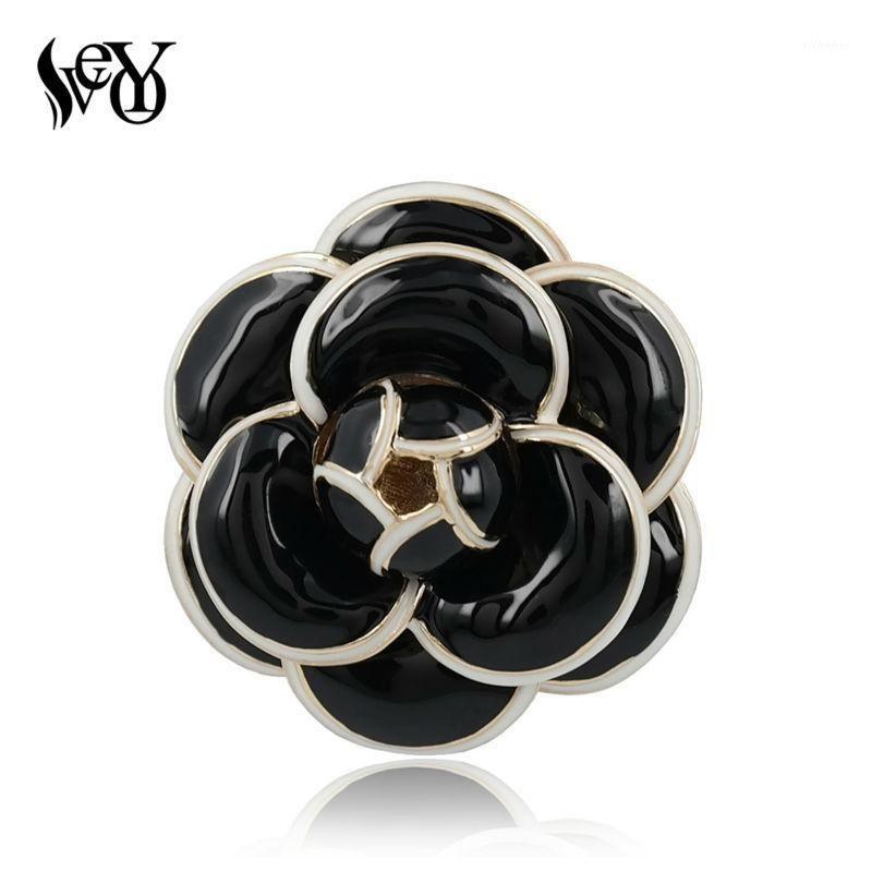 Veyo refinado elegante designers de vidros camélia broche para mulheres moda jóias de alta qualidade liga de zinco1