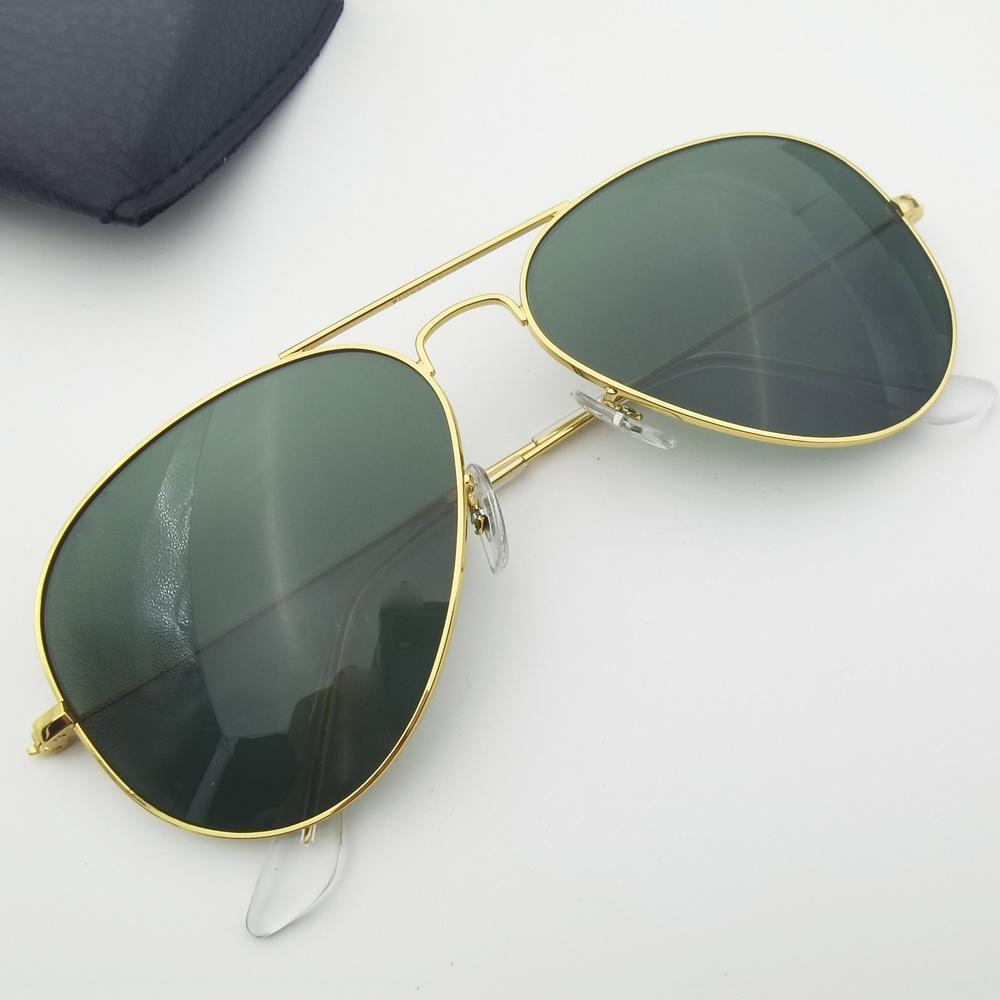 Lunettes de soleil de style pilote Cadre en métal Double pont design 58mm 62mm Lentille en verre Hommes Femmes Conduite UV400 Oculos de Sol Masculino Gafas avec des boîtes Accessoires