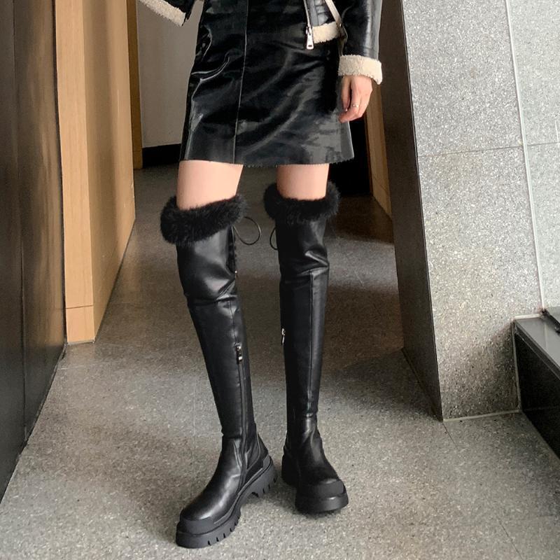 Haraval Frauen Winter Warme Wildleder über Knie Hohe Stiefel Flache Dicke Untere Mode Runde Zeh Zipper Schuhe Heiße Schneeschuhe Sexy E264L
