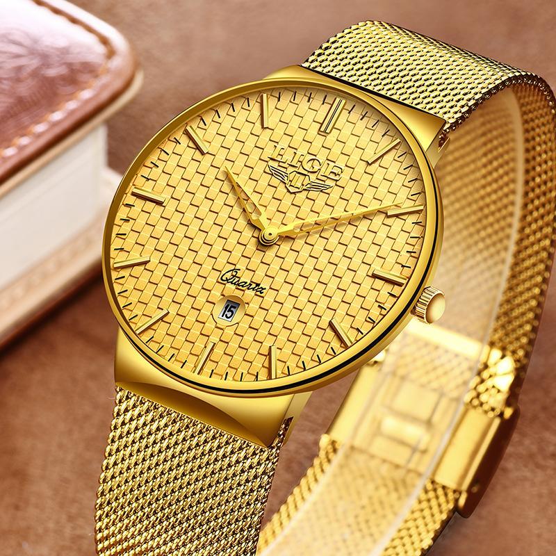LIGE Fashion Mens Montres Haut Marque Luxe Ultra Thin Quartz Montre Hommes Sangle En Mesh Sangle Étanche Gold Montre Relogio Masculino