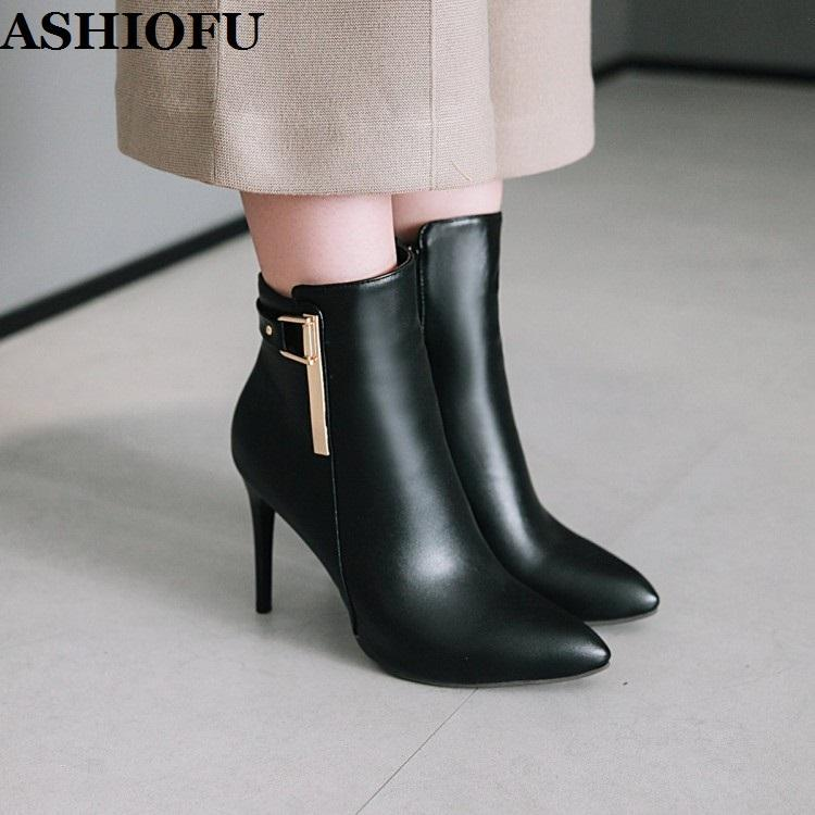ASHIOFU New Handmade Women's High Heels Boots P-buckle Deco Party Prom Ankle Booties Pointy Daily Wear Evening Fashion Boots