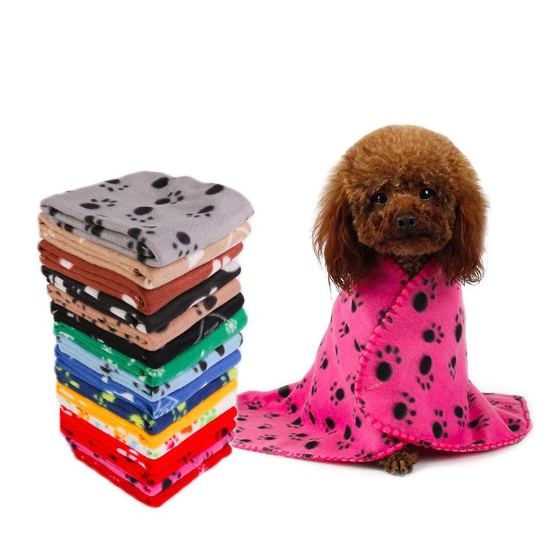 Pet Blanket Small Paw Print Towel Cat Dog Fleece Soft Warmer Lovely Blankets Beds Cushion Mat Dog Blanket Cover 22 Colors LLS34