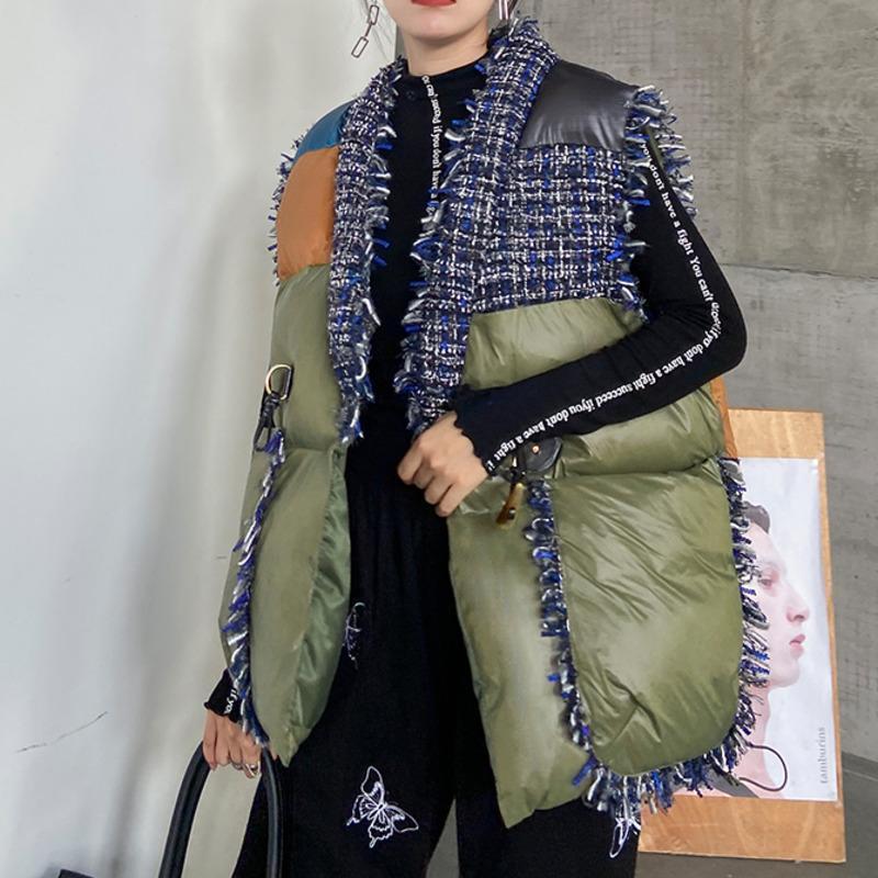 Sondr streetwear patchwork roupas de algodão roupas curtas inverno espessado 2020 novo colete sem mangas mulher parkas