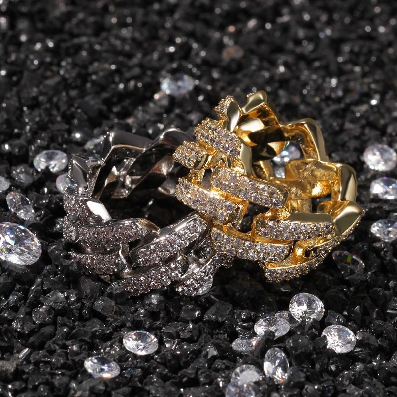 Bague de bijoux HIP bijoux hip hop glaçons oits or rings or or pliés de luxe joints blingbling