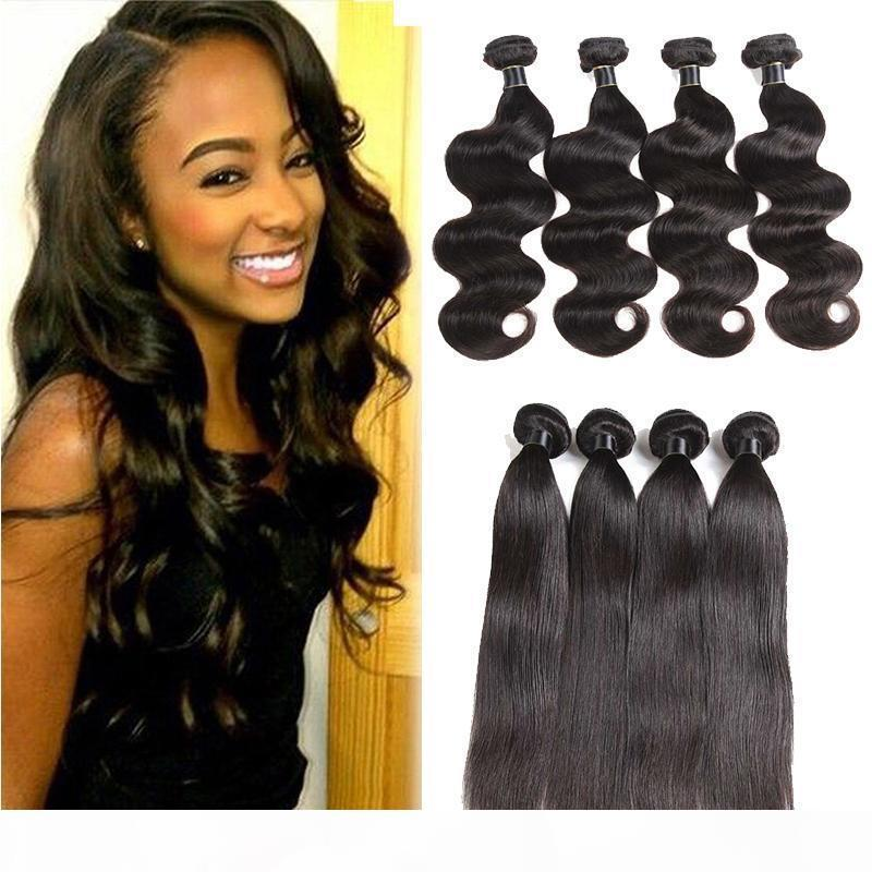 Brazilian Virgin Hair Extensions Straight Body Wave Hair Weaves 3 4 Bundles Brazilian Straight Mongolian Indian Remy Human Hair Wefts