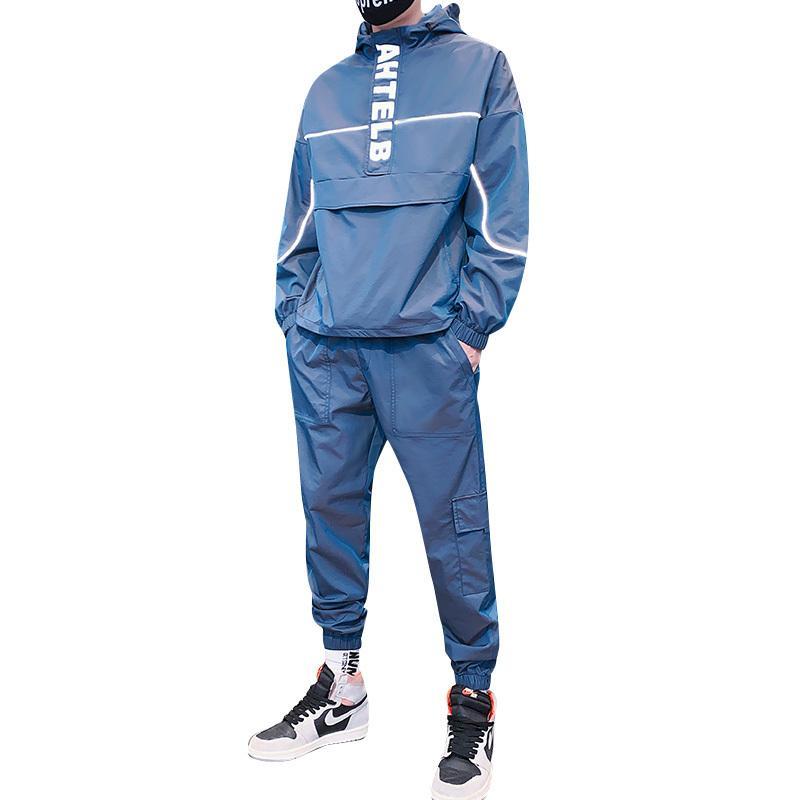 2020 Autunno Riflettente New Fashion Maschile Felpa con cappuccio Maschile Abiti di sudore 2 pezzi Streetwear Basculator Plus Size M-5XL
