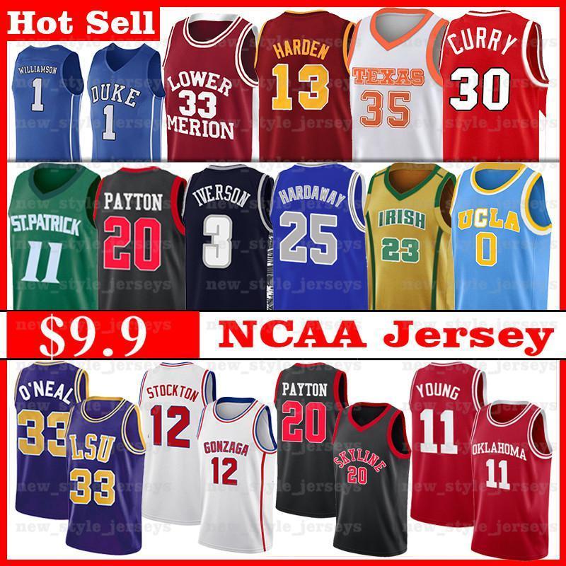 NCAA Auburn NCAA LSU Kaplanları Jersey Shaquille O Neal Sooners Hardide Genç 11 Trae Marquette Dwyane Altın Kartallar Iverson Basketbol Formaları