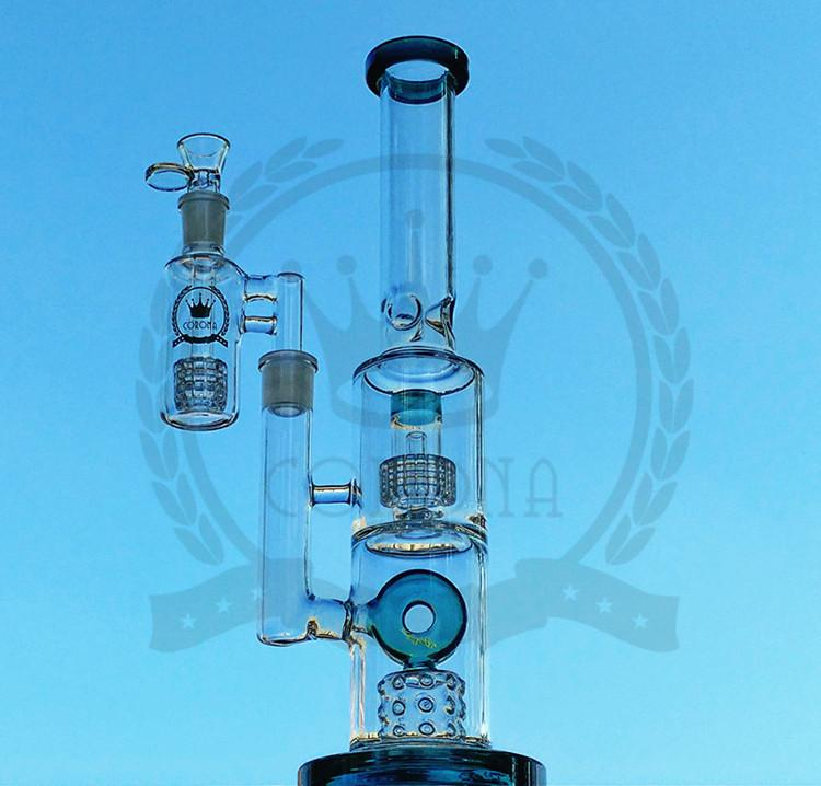 Purple Bongs Thick Glass Beaker Bong Smoking Glass Pipes 16 Inchs Tall Recycler Dab Rigs Water Bongs With 18mm Bowl