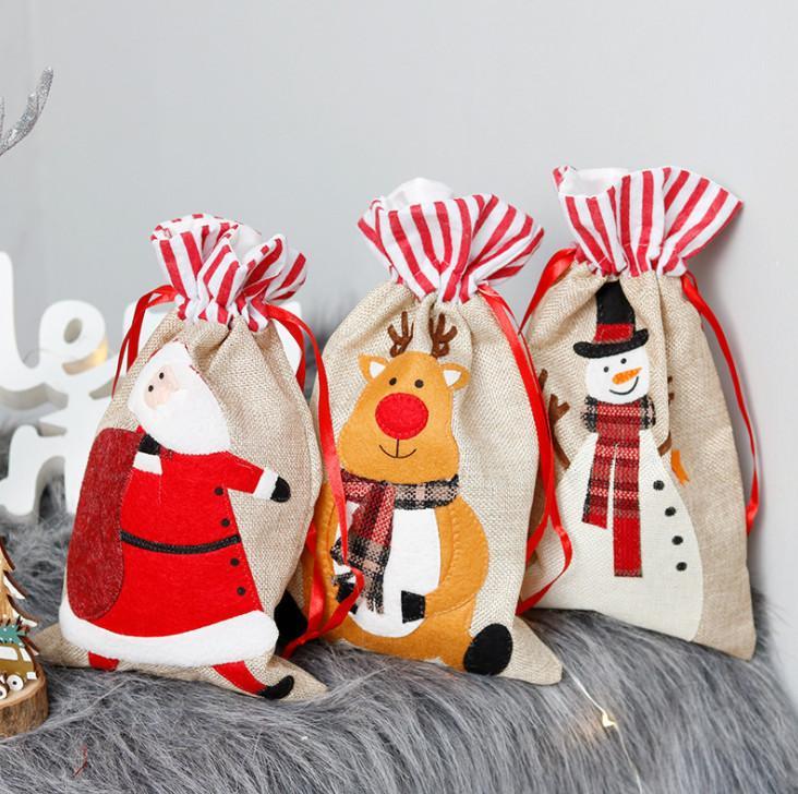 أحدث 30x18 سم الحجم، حقيبة هدايا عيد الميلاد، زخرفة عيد الميلاد، الكتان ثلاثي الأبعاد التطريز الأطفال حقيبة هدايا، شحن مجاني