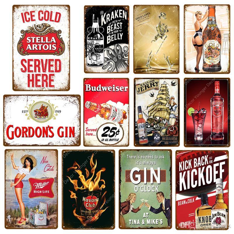 2021 glace froide Stella Artois Bière Miller Smirnoff Vintage Signes Metal Signes Budweiser Plaque Bar Pub Plaque Décorative Plaque Publicité Bière Décor