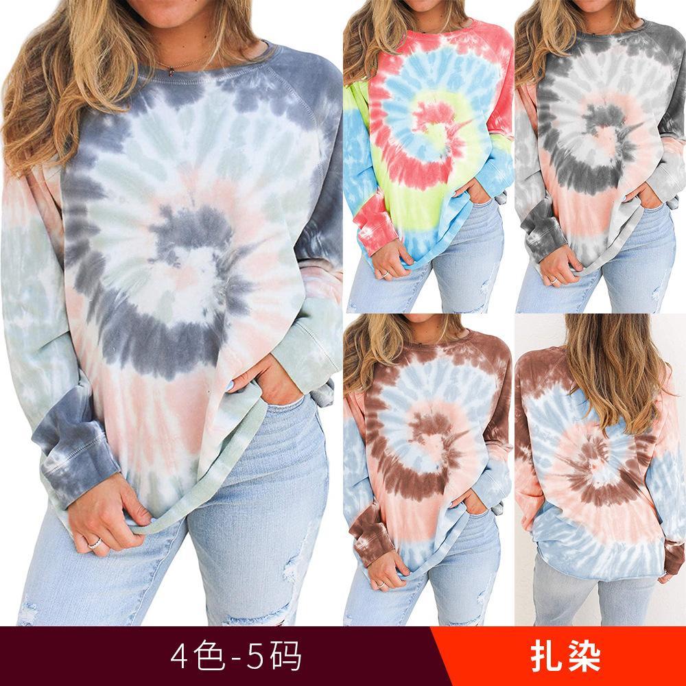 4colour S-XL 여성 유행 캐주얼 넥타이 염료 인쇄 라운드 넥 긴팔 풀오버 느슨한 풀 오버 스웨터 톱 26623333531236