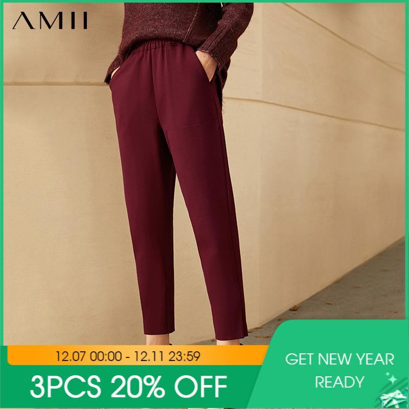 Amii minimalismo inverno calças femininas moda simples olstyle espesso lã traight ankel-comprimento feminino calças 12030608