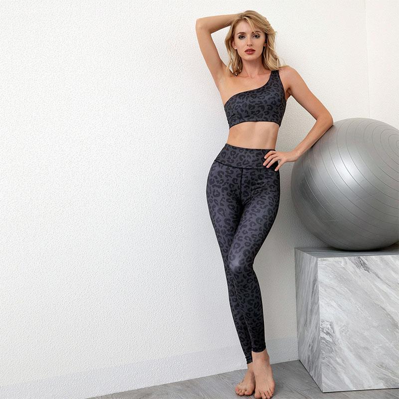Yoga Outfits 2PCS Seamless Set One Shoulder Sexy Sport Bra High Waist Leggings Outdoor Exercise Gym Suit Workout Sportwear For Women