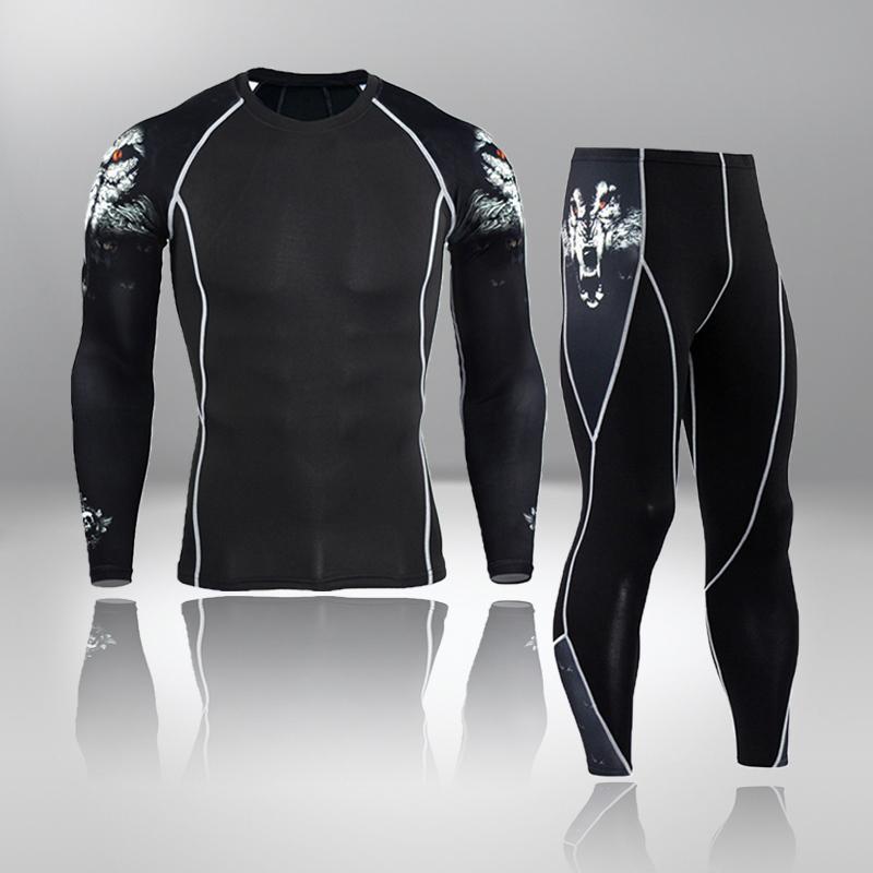 Yeni erkek Koşu Uzun Johns Spor Takım Eşofman Tayt Erkekler Eğitim Sıkıştırma Seti Spor Eşofmanlar Rashguard Termal İç Giyim