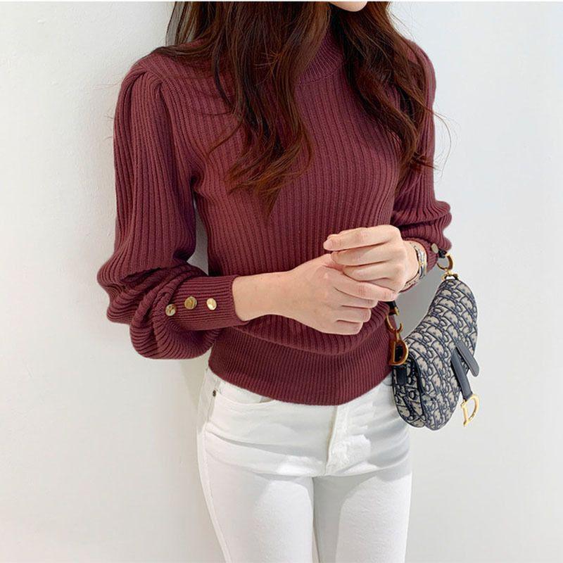 Otoño invierno 2020 soltero pecho ribete suéter O-cuello de manga larga moda estilo coreano suéteres de mujer más tamaño tejido a