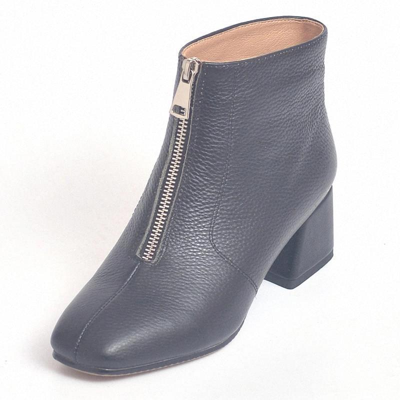 Primavera otoño mujeres botas de tobillo moda lady lady frente cremallera desgin black blanco rojo cuadrado de punta mujer zapatos de tacón alto m013 # jy7f