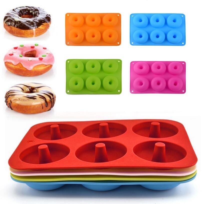 5 Colores Molde de la dona de silicona Molde para hornear DIY Donuts 6 tragamonedas Molde fabricante antiadherente Silicona Pastel de pastelería Herramientas para hornear