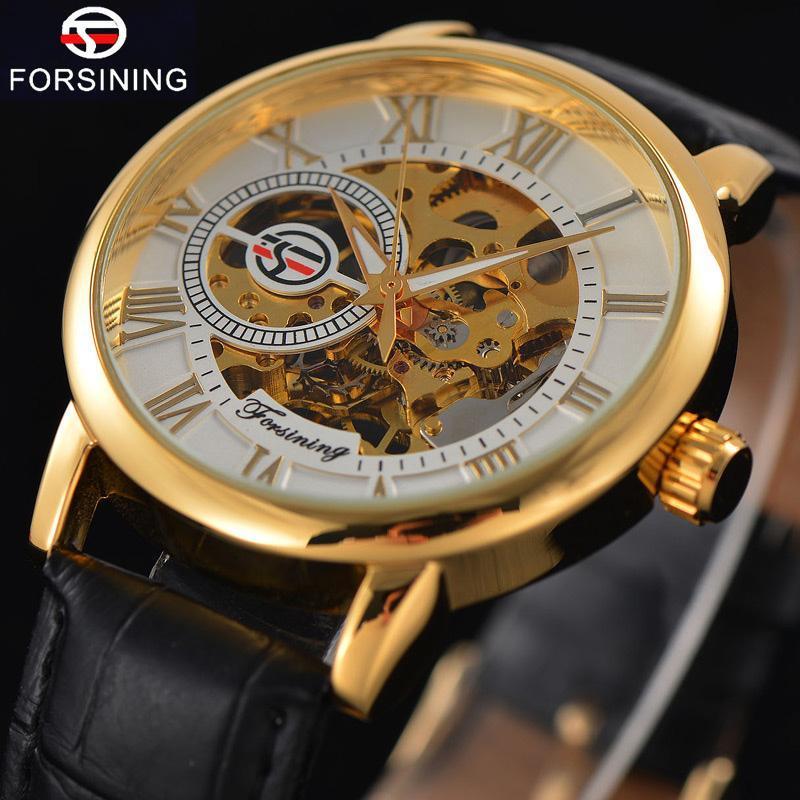 Saatı Forsining Üst Erkek İzle Erkekler Spor Saati Erkek Iş İskelet Saatler El Rüzgar Mekanik Saatler Hediye