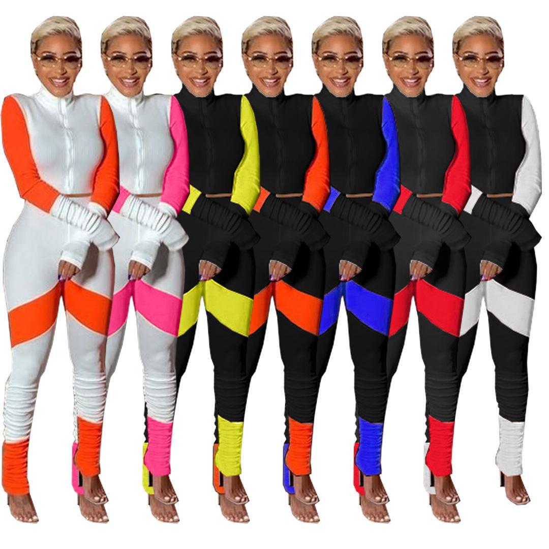 Color sólido de venta caliente de las mujeres y pantalones plisados de manga larga empalmando el conjunto de dos piezas