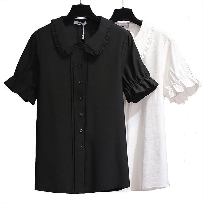 Плюс Размер блузки для женщин 4XL 5XL 6XL Летний 2020 Новый Случайные Белый Черный Куклу Воротник с коротким рукавом Ruffled Шифон
