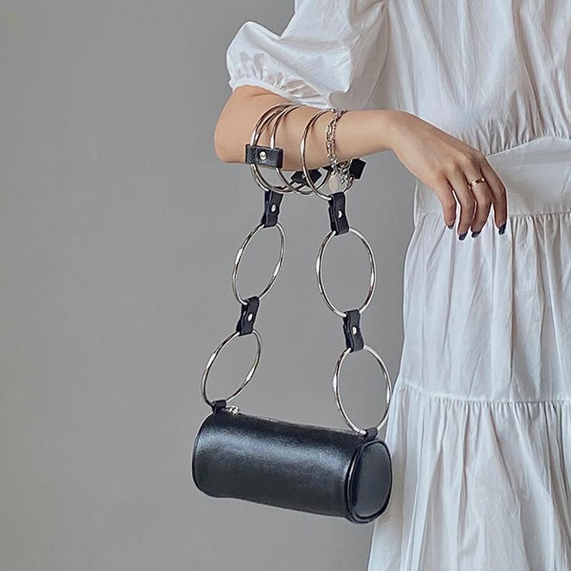 Fashion Metal Ring Handle Women Shoulder Bag Designer Barrel-shaped Chain Messenger Crossbody Bag Lady Small Purse 2020 Bolsa C0308