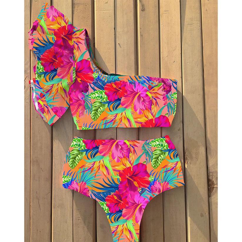 2020 Neue Sexy Eine Schulter Bikinis Frauen Badeanzug Ruffle Bademode Hohe Taille Badeanzüge Strand Tragen Biquini Weibliche