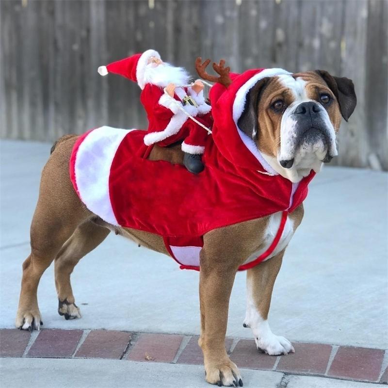 Weihnachten Haustier Hund Ankleide Kleidung Funny Santa Claus Kostüm Für Hunde Winter Warme Hund Mantel Chihuahua Pug Yorkshire Kleidung 201126