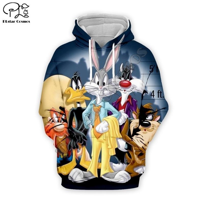 PLSTAR COSMOS Anime Bugs Bunny Coloré Cartoon Tracksuit Nouveau mode 3DPrint Zipper / Sweats à capuche / Sweat-shirt / Veste / Mens Femmes S-1 201020