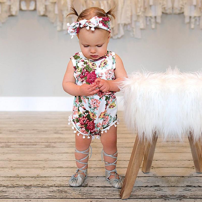 2 шт. Летняя одежда младенческая новорожденная девочка цветочные ползунки девочки без рукавов взбитых комбинезонов с детской повязкой