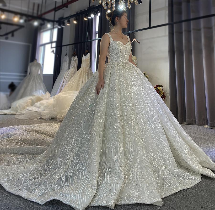 Robe De Mariage Princess Wedding Dress Straps Full Beading Vestido De Novia Short Sleeve Luxury Ball Gown Wedding Dresses