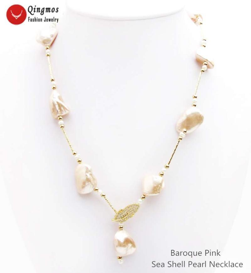 Anhänger Halsketten QingMos Trendy Sea Shell Perle Halskette für Frauen mit 15 * 20mm Barock Rosa Lange Schmuck 28 '' NEC6536