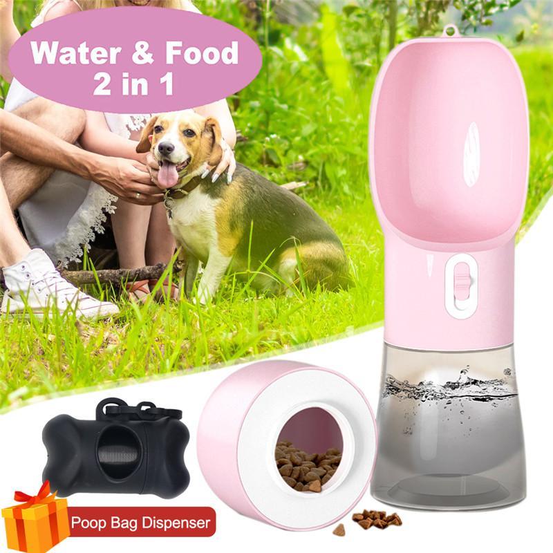 2 in 1 tragbare Haustierhund Wasser und Lebensmittelflasche für Wandernahrungsmittel Wassereinzug für Hunde Trinkschale Welpen Katze Wasserspender