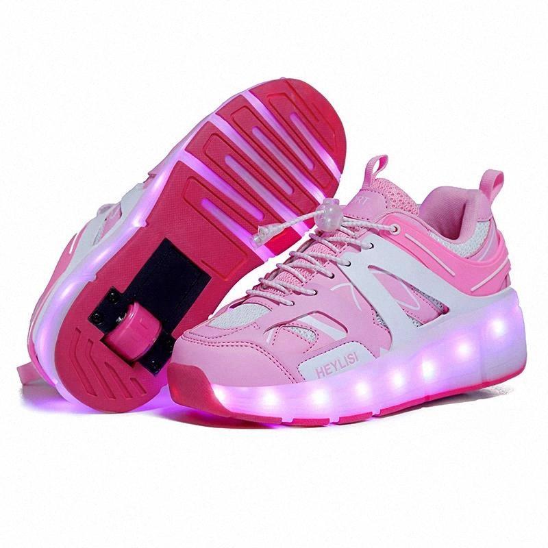 Les enfants ont mené des chaussures à roulettes USB pour les enfants de goûter pour enfant fille light up cadeau baskets avec sur roues enfants skates chaussures pour garçons filles # lj6a