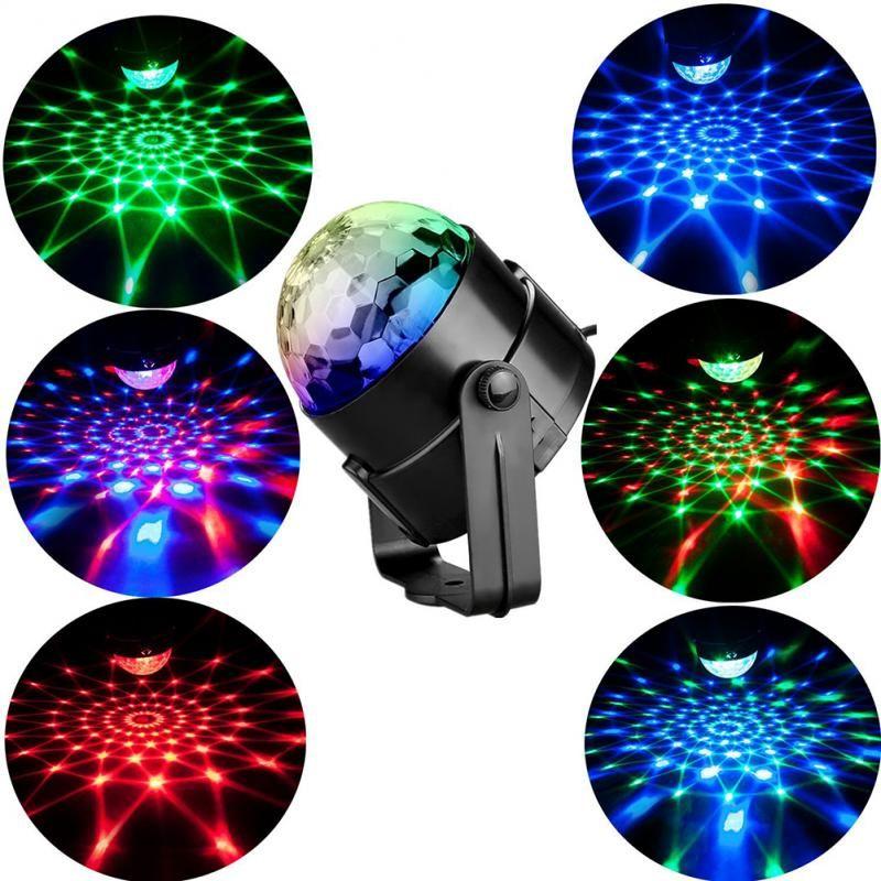 스트로브 LED DJ 공 홈 KTV 크리스마스 결혼식 쇼 LED RGB 크리스탈 마술 공 효과 조명 사운드 활성 레이저 프로젝터 낙하