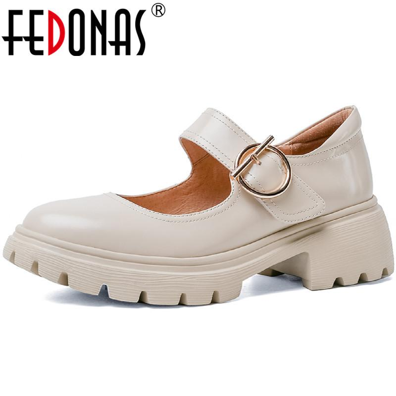 Mary Janes Plataforma Fashion for Women Genuine Leather Chunky Heels Bombas Autumn Newest Party Pelights
