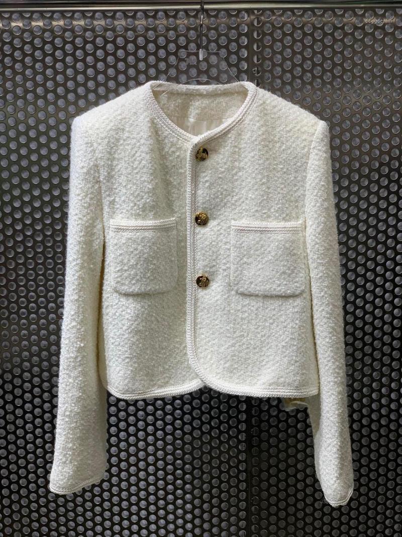 Женские куртки осень старинные высококачественные женщины роскошный твидовый куртка пальто дамы мода верхняя одежда 2 цвета ddxgz21