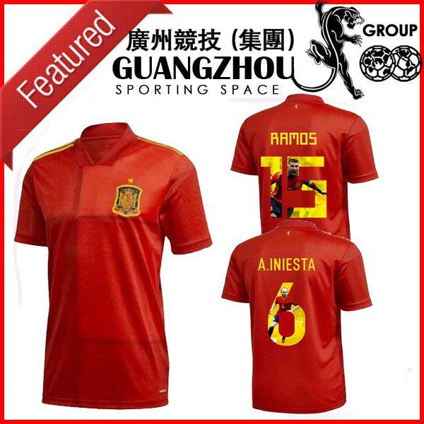 2020 2021 Espagne SPÉCIAL SOCCER JERSEYS ESPANA A.INIESTA 6 España Ramos 15 Home Gallery Style Jersey Football Shirts