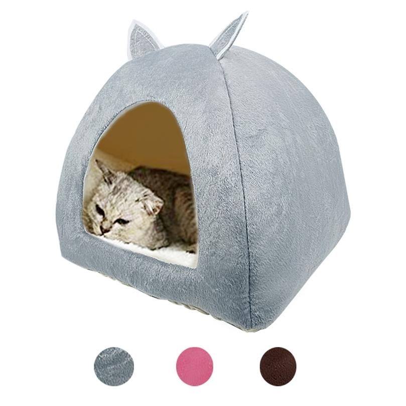 Cat Tente Nid Hiver Chat Chat Chats pliable Chats d'intérieur Chiot Mascotas Casa Casa Cave Pet Maison avec coussin souple en peluche 201218