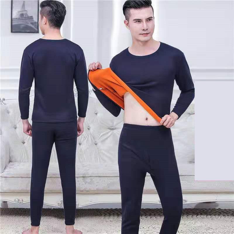Homens de inverno Underwear mais veludo espessamento terno termal poliéster confortável tops quentes + calças baratas de alta qualidade