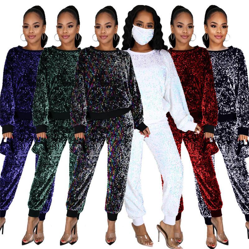 Yeni Maske Artı Boyutu Eşofman Sequins Ekip Boyun Bayan Ile İki Parçalı Set Moda Tasarımcısı Bayan Giysileri