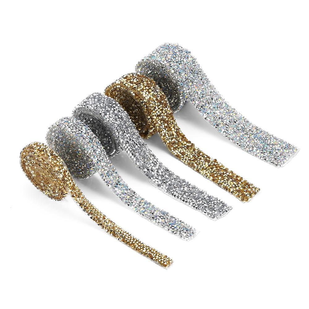 1 Yard Rhinestones Tape Banding Hotfix Strass Crystal Clothing Decoration Ribbon