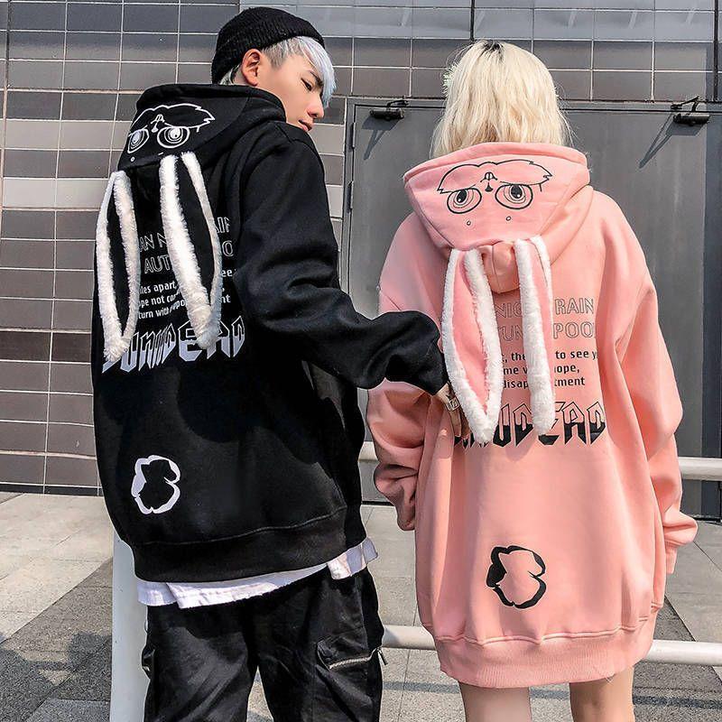 Lovely Animal Women Pullover Kawaii Hoodies Rabbit Sweatshirt Tops Cute Bunny Graphic Outerwear Pink Black Couple Hoodie Girls