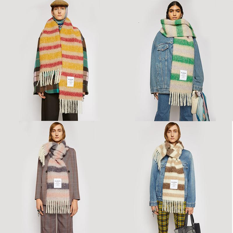2020 Nuova qualità Acne Quality Foulard Inverno Cashmere Sciarpa Donne spesse Scialli caldi Involucri Lady Solid Scarv Moda Nappe Pashmina