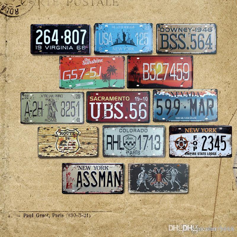 2021 Vintage Metal Tin Signe Numéro de voiture Plaque d'immatriculation Shabby Chic Plaque Plaque Poster Bar Café Garage Home Decor Vente en gros 30 * 15cm