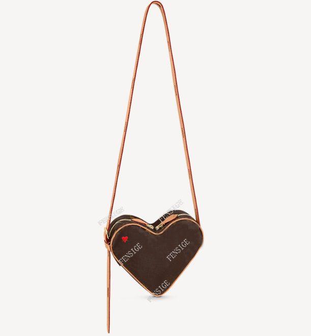 Coeur 미니 탈질 붉은 마음 모양의 핸드백 송아지 가죽 여성 캔버스 양각 크로스 바디 저녁 숄더 백 지갑